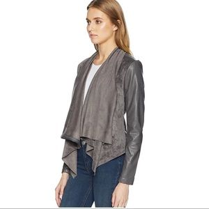 Blank NYC faux suede drape front jacket Grey small